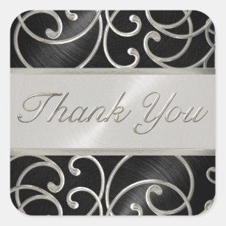 Gracias afiligranado negro y de plata elegante pegatina cuadrada