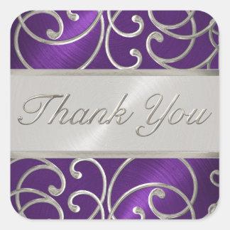 Gracias afiligranado púrpura y de plata elegante pegatina cuadrada