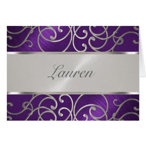 Gracias afiligranado púrpura y de plata elegante tarjeta pequeña