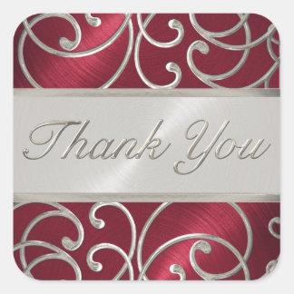 Gracias afiligranado rojo y de plata elegante pegatina cuadrada