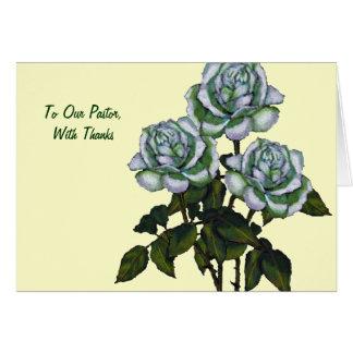 Gracias al pastor: Tres rosas blancos: Arte Tarjeta De Felicitación