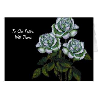 Gracias al pastor: Tres rosas blancos en negro Tarjeta De Felicitación
