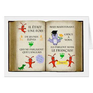 Gracias al profesor francés en francés tarjetas