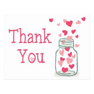 Gracias amor rosado del tarro de albañil del postal