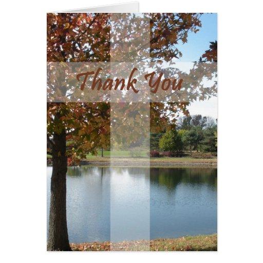 Gracias - aprecio del pastor con el árbol del otoñ tarjeta