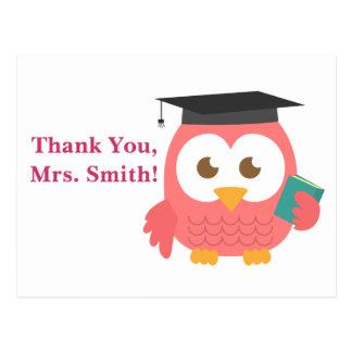 Gracias, aprecio del profesor, búho del profesor tarjeta postal