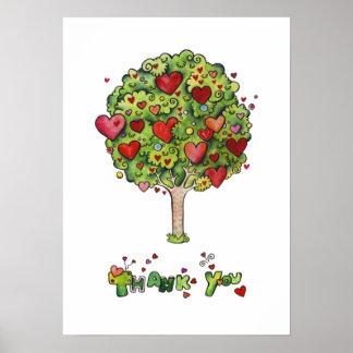 Gracias árbol póster