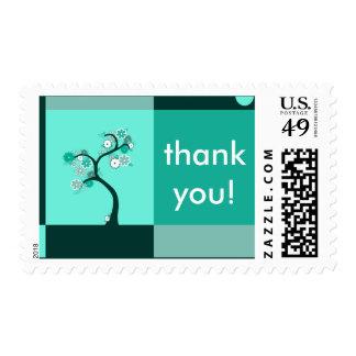 gracias: árbol retro sellos postales