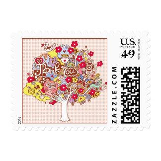 Gracias árbol sellos postales