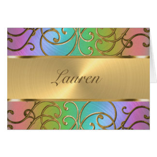 Gracias arco iris elegante y oro afiligranados tarjeta pequeña