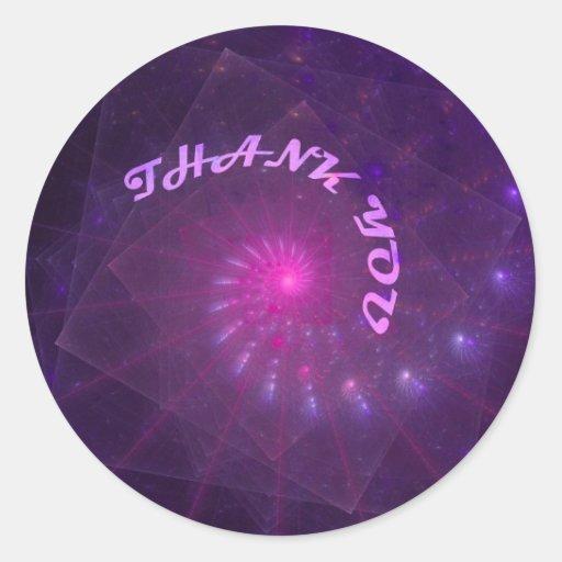 Gracias arte espiral del fractal de la pastilla de etiqueta redonda
