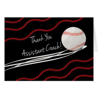 Gracias ayudante del entrenador, bola rápida y las tarjeta de felicitación