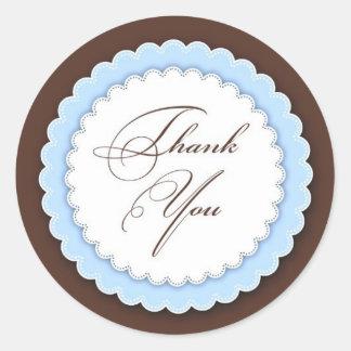 Gracias azul/Brown Pegatina Redonda