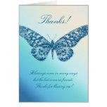 Gracias azul de la mariposa de la tarjeta de felic
