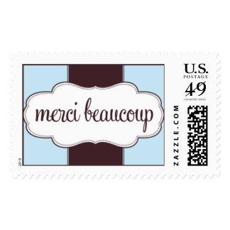 Gracias azul del sello de Merci Beaucoup