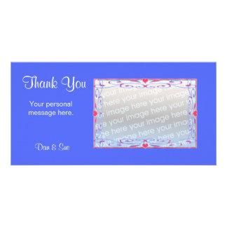 Gracias azul tarjeta fotográfica personalizada