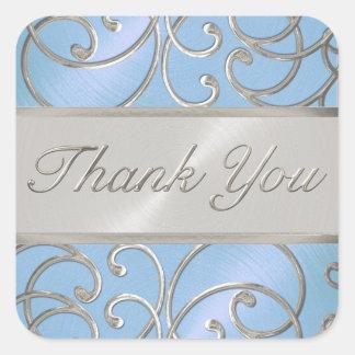 Gracias azul y plata de cielo elegante pegatina cuadrada