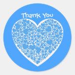 Gracias, azules y blancos los corazones pegatina redonda