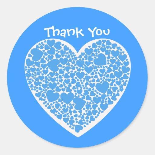 Gracias, azules y blancos los corazones etiqueta