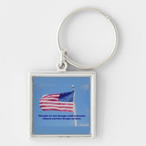 Gracias bandera americana de las tropas llaveros