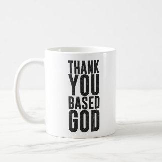 Gracias basó a dios taza básica blanca