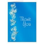 Gracias blancas azules de las estrellas de mar de tarjeta pequeña