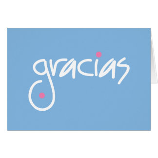 Gracias blue thank you in any language stationery note card