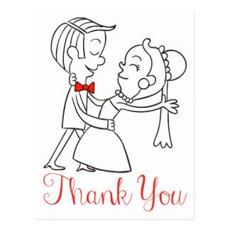 Gracias boda blanco y negro de novia y del novio tarjeta postal