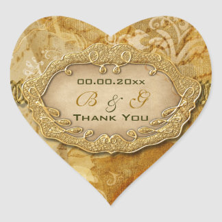 Gracias boda del marrón del oro del vintage pegatina corazon personalizadas