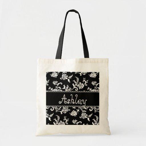 Gracias boda floral blanco y negro del damasco bolsa de mano