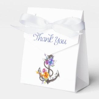 Gracias boda floral del ancla náutica de la nave caja para regalos de fiestas