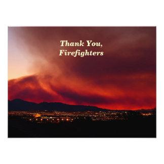 Gracias, bomberos, cielo en el poster 24x18 del fu fotografía