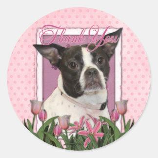Gracias - Boston y rata Terrier - Jazy Pegatina Redonda