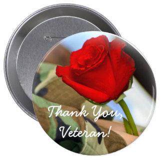 Gracias botón del veterano pin redondo de 4 pulgadas