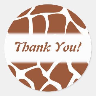 Gracias. Brown y modelo blanco de la jirafa Pegatina Redonda