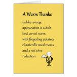Gracias calientes - un divertido le agradece poema tarjetón