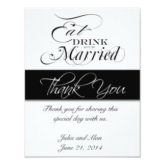 """Gracias cardar comen, beben, y sean negro casado invitación 4.25"""" x 5.5"""""""