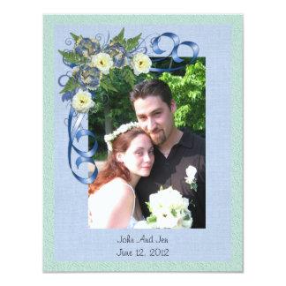 """Gracias cardar con floral azul de la foto invitación 4.25"""" x 5.5"""""""