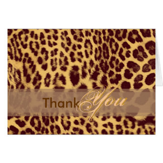 Gracias cardar, con la piel del leopardo tarjeta de felicitación