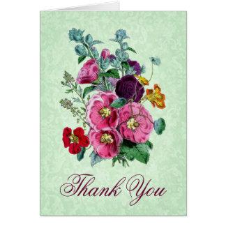 Gracias cardar con las floraciones del Hollyhock Tarjeta De Felicitación