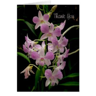Gracias cardar con las orquídeas rosadas tarjeta pequeña