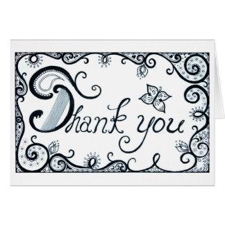 Gracias cardar - dibujado gracias cardar - b/w tarjeta de felicitación