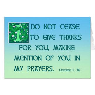 Gracias cardar el 1:16 de Ephesians Tarjeta De Felicitación
