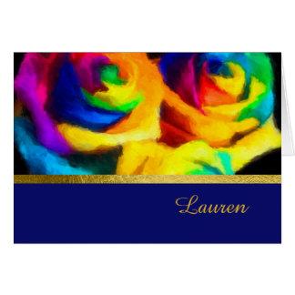 Gracias cardar el arco iris pintado Rosees Tarjeta Pequeña