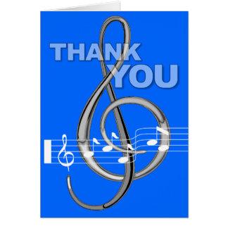 Gracias cardar el azul de la nota de la música del tarjeta pequeña