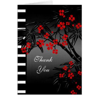 Gracias cardar el bambú negro floral rojo asiático tarjeta pequeña