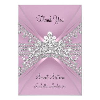 """Gracias cardar el dulce dieciséis rosa de 16 invitación 3.5"""" x 5"""""""