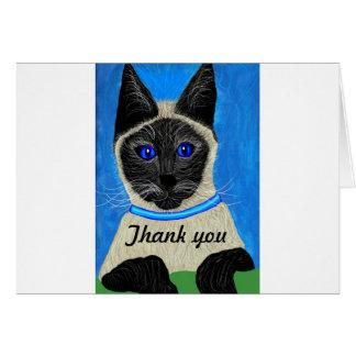 Gracias cardar el gato siamés tarjeta de felicitación
