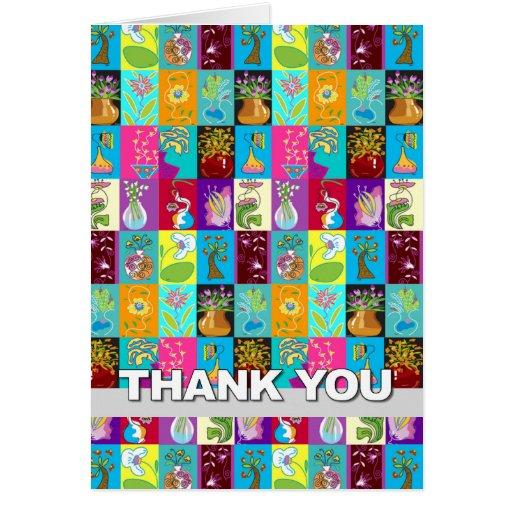 Gracias cardar gris floral colorido del mosaico felicitación