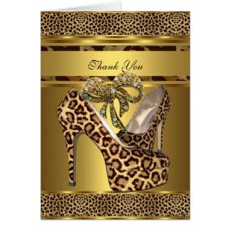 Gracias cardar hola el arco del oro del leopardo d tarjeta pequeña